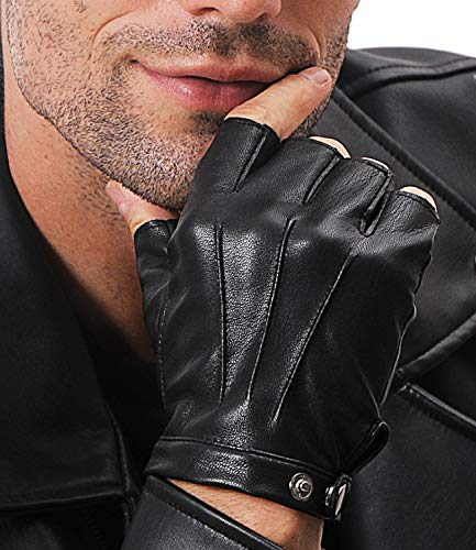SOFIKY Fingerless Leather Driving Gloves For Men Women, Half Finger Motorcycle Gloves With Anti-slip Layer