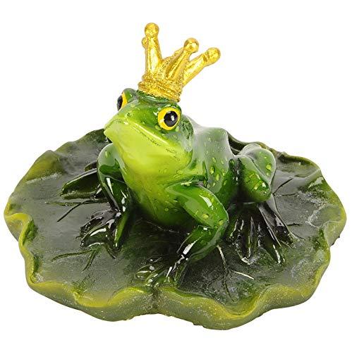 Gartenzaubereien Froschkönig auf Blatt schwimmend