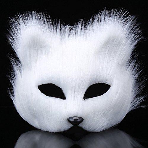 EQLEF White Mascara Zorro Face Mask Costume Pro para la Fiesta de Disfraces de Halloween