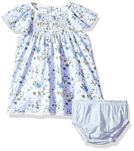 Mud Pie Baby Girls Floral Smocked Flutter Sleeve Casual Dress with Bloomers, Blue, 6-9 Months