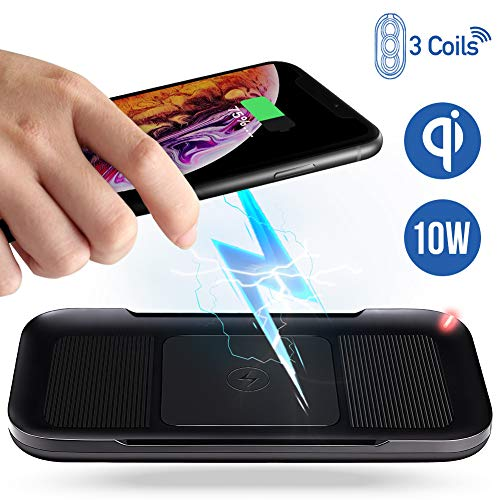 ACTOPP Caricatore Wireless 3 Bobine, Caricabatterie Wireless senza Fili QI Fast Charge da 10W con Indicatore LED Per Iphone Samsung da Tavolo NEW 2019