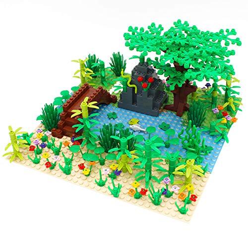 OULAIZ Forest Garden Building Blocks Parts Rainforest Plants Tree Flowers Bricks...