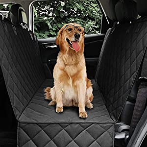 "Honest Dog Car Seat Covers with Side Flap, Pet Backseat Cover for Cars, Trucks, and Suv's – Waterproof & Nonslip-Luxury(Quilted) (61"" W x 64"" L, Black)"