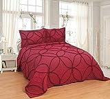 Set di 3 pezzi di copriletto trapuntato in pizzo trapuntato, per letto queen size, 269,2 x 243,8 cm, colore: vino
