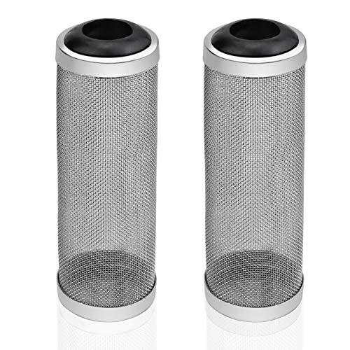 ZHENA 2 Piezas 16mm Filtro de Acuario Acero Inoxidable, Malla de Filtro de Red para Peces Camarones Protector de Canasta de Red de Entrada de Agua - Negro