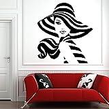 Salón de belleza Peinado Chica Maquillaje facial Calcomanía de pared removible Decoración del hogar Arte Mural Calcomanía de pared removible otro color 57x62cm