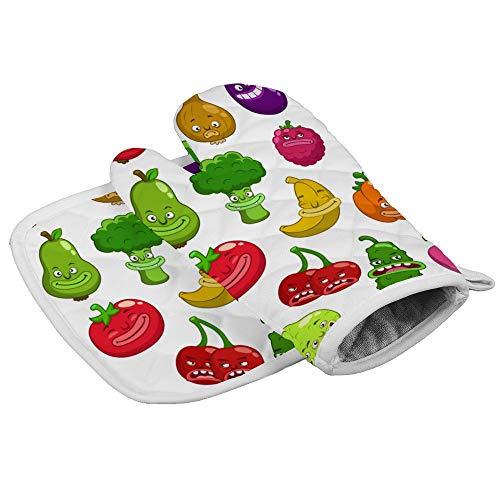 N/A Isolatie handschoenen Fruit en Groenten zoals Aardbeien, Kersen, Broccoli, Etc Professionele hittebestendige Oven Wanten, Inclusief geïsoleerde handschoenen en geïsoleerde vierkante pads