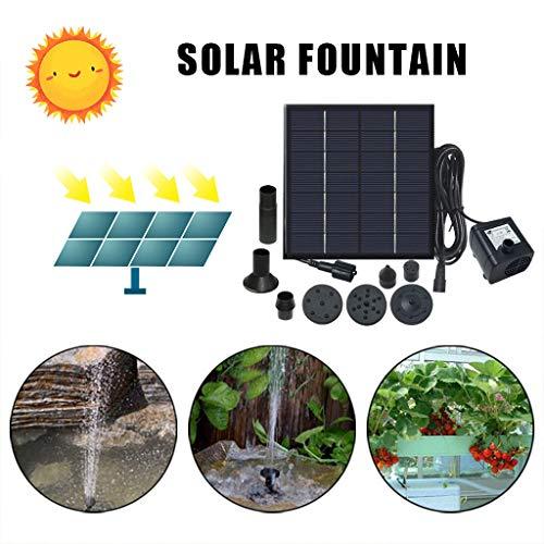 Lomelomme 1,4W Solar Teichpumpe Brunnenpumpe Solarpumpe, 180 L/h Solar Springbrunnen mit Solarpanel und Akkubetriebfür Garten Miniteich Brunnen für Garten, Teich, Balkon (5 Fontänenstile)