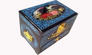 HAIHF Organizador de Joyería,Empuje la Laca luz joyería Caja cajón Joyas de Boda de Madera Pintados a Mano Caja Dulce Feliz Almacenamiento Chino Caja