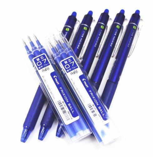 Pilot-5 Bolígrafos Borrables Frixion Clicker Azul y Seis Recambios-0.7 mm.