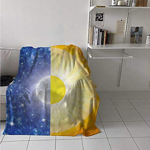 Throw Blanket Space Air Conditioner Blanket Split Design with Stars in The Sky and Sun Beams Solar Balance Nature Image Print Best Gift for Women, Men, Kid, Teen Blue Yellow 60x80 Inch
