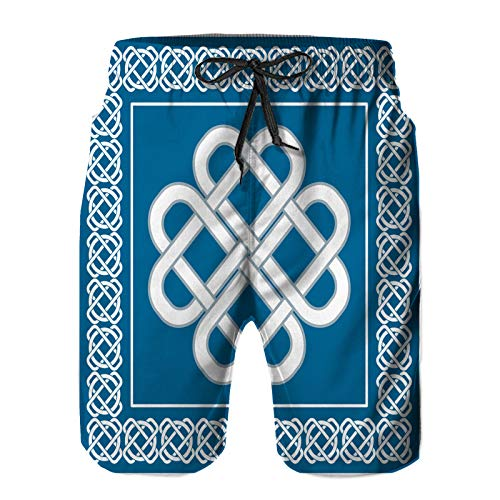 Men's Swim Trunks with Pockets,Celtic Love knotsymbol Good Fortune Two,Summer Surf Quick Dry Beach Board Shorts Pants Bathing Suit 2XL