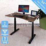 Seville Classics AIRLIFT Pro S3 54' Solid-Top Commercial-Grade Electric Adjustable Standing Desk (51.4' Max Height) Table, Black/Walnut