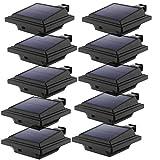 LED Solar Dachrinnenleuchte, KEENZO Solarlampen für Außen, 25LEDs Solarlicht, Auto ON/OFF, Schwarz,Warmweiß Licht (10er set)