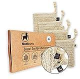 Designed in HAMBURG - [4x] Sisal Seifensäckchen mit Baumwoll-Labels - 100% vegan - Zero-Plastic...