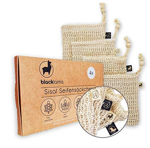 Designed in HAMBURG - [4x] Sisal Seifensäckchen mit Baumwoll-Labels - 100% vegan - Zero-Plastic Verpackung - Bio Peeling - Seifenbeutel - Seifensack für Seifenreste - reines Naturprodukt