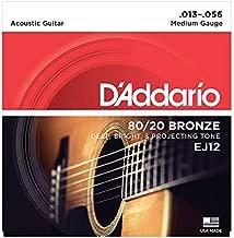D'Addario EJ12 80/20 Bronze Acoustic Guitar Strings, Medium, 13-56