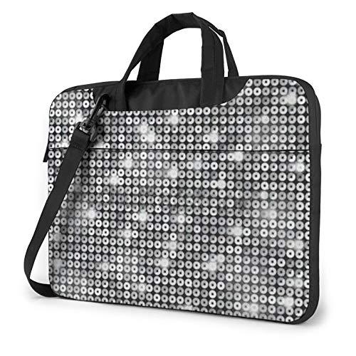 Laptop Shoulder Bag - Silver Sequin Sparkle Pattern Printed Shockproof Waterproof Laptop Shoulder Backpack Bag Briefcase 15.6 Inch