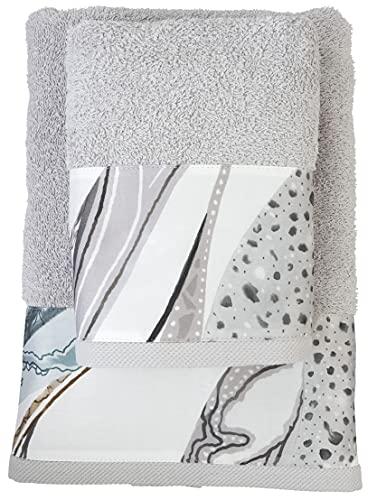 FILET - Juego de Toallas para Cara + huésped, con impresión Digital aplicada, Color Gris Perlado, algodón, 63 x 110 cm, 40 x 60 cm