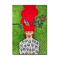 現代抽象鳥鳥キャラクターポスタードレスファッション女の子キャンバス絵画鳥花ポスタープリント壁画リビングルーム壁アート装飾