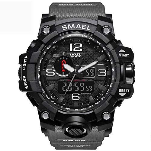 Smael Reloj Militar para Hombre Reloj De Pulsera Impermeable De 50 M Reloj De Cuarzo LED Reloj Deportivo Reloj Deportivo para Hombre (Gray)