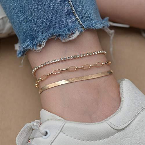 ZBXCVZH Juego de 3 tobilleras vintage para mujer, cadena de serpiente dorada con dije de flecha, pulsera de tobillo para mujer (color metal: 60136)