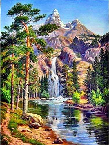5D DIY Diamond Painting Waterfall Scenic Full Square Rhinestone Diamond Embroidery Landscape Cross Stitch Mosaic Home Decoration-30X40Cm