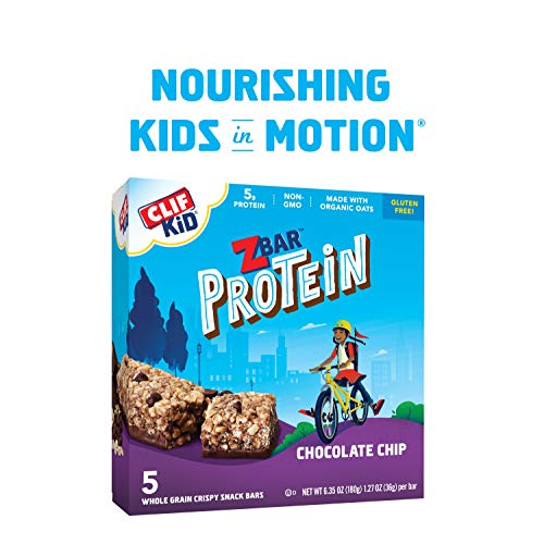 CLIF KID ZBAR - Protein Granola Bars - Chocolate Chip - Non-GMO - Organic -Lunch Box Snacks (1.27 Ounce Energy Bars, 5 Count)