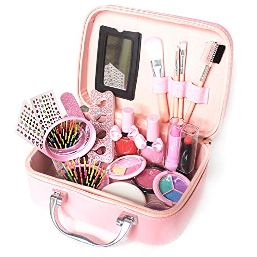 Kit de maquillaje para niños, juego de juguetes de maquillaje lavable para niñas, juguetes de maquillaje portátiles, juego de belleza no tóxico para niños, regalo de cumpleaños perfecto para Navidad