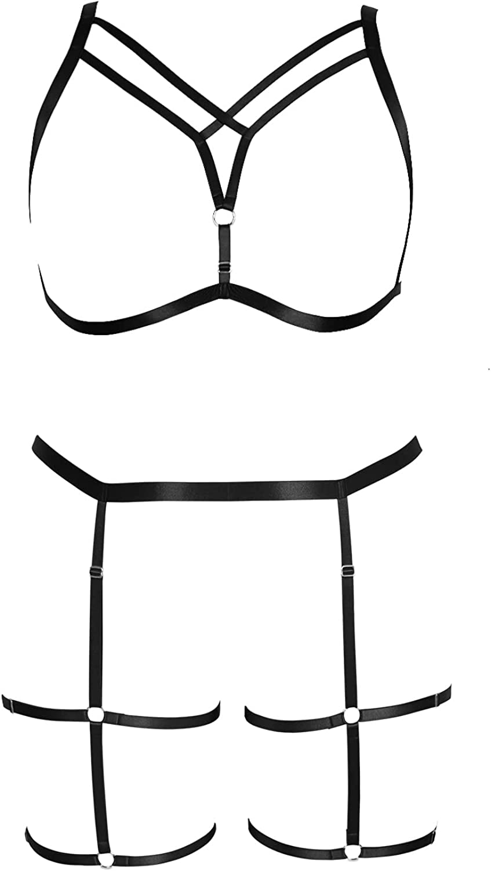 Garter belt set Full body harness for women Plump Punk Lingerie cage Large size Gothic bra Plus size Obesity Festival rave