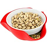 Southern Homewares SH-10277, Red Double Pedestal Serving Dish, Peanuts, Pistachios, Fruits, Candy, and Snacks, One Size