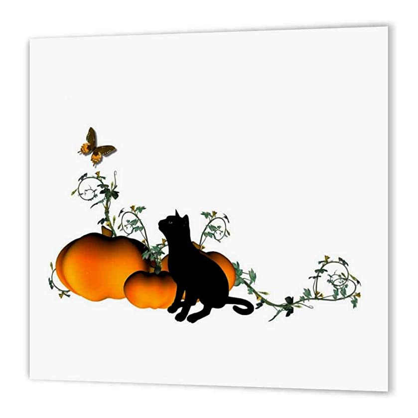 3dRose ht_19391_1 Black Cat with Pumpkins and Butterfly-Iron on Heat Transfer Paper for White Material, 8 by 8-Inch