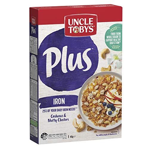 UNCLE TOBYS PLUS Iron Breakfast Cereal, Cashews & Nutty Clusters 410g