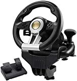 Hammer Manejo de la rueda, accesorios del juego video Manejo de la rueda + Pedales, PC, real fuerza de respuesta, la dirección del juego de piel cubierta de la rueda, compatible con PC / PS3 / PS4 / X