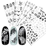5 Sheets Nail Art Stickers Decals Black White Color Vintage Flower Vine Butterfly Maple Leaf Pattern Nails Designs 3D DIY Self Adhesive Nail Art Decals Decorations Fashion Nail supplies