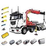 Camión de control remoto técnico con grúa, juego bloques construcción 8238 piezas, modelo grúa RC de 2.4Ghz / APP con motor funciones eléctricas, compatible con Lego Technic dynamic,85 * 25 * 31CM