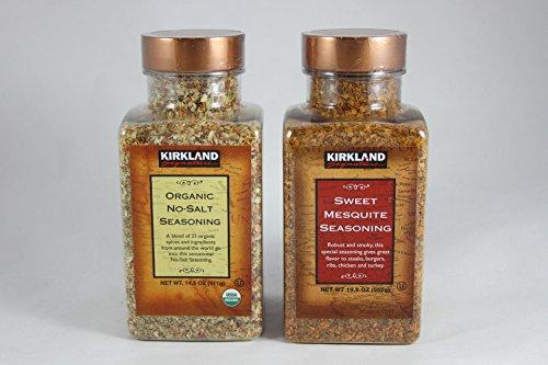 Kirkland Signature Seasoning Bundle - 2 Items (Kirkland Signature Sweet Mesquite Seasoning and Kirkland Signature Organic No Salt Seasoning)