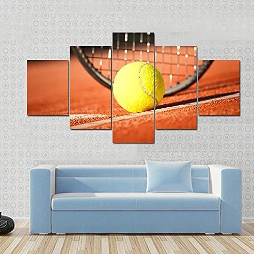 Cuadro en Lienzo Pelota tenis y raqueta Moderno Impresión de 5 Piezas Impresión Artística Imagen Gráfica Decoracion de Pared - Enmarcado