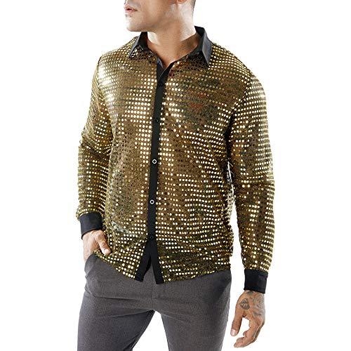 Camisa de Solapa de Manga Larga para Hombre con Disfraz de Lunares de para Hombre