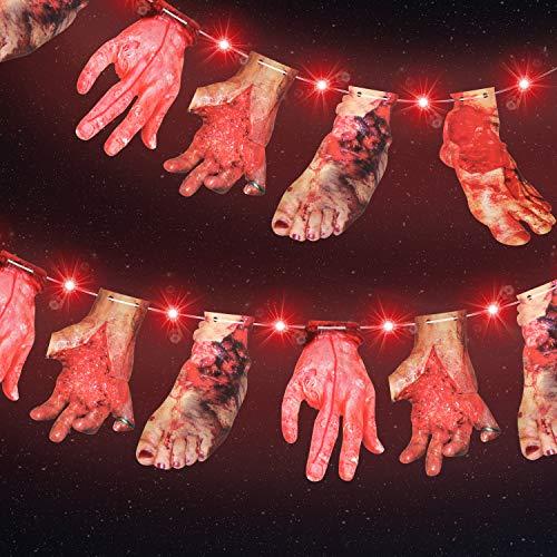 Halloween Rote Lichter mit Blutigen Händen und Füßen Hängenden Karten Dekor, 9,8 Fuß 30 LED Rote Lichter 2 Modi Batterie Halloween Lichter für Halloween, Garten, Indoor Outdoor Dekoration