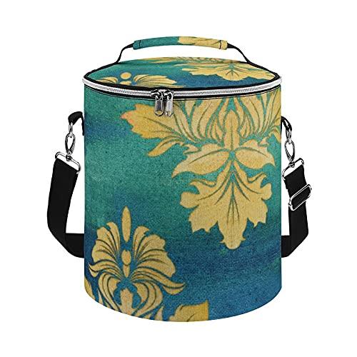 Bolsa de refrigeración, bohemia desierto BOHO azul damasco hojas arte aislado bolsa grande nevera bolsa para actividades al aire libre, senderismo, camping, barco, playa, pesca