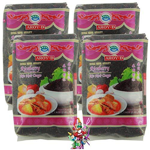 yoaxia ® - 4er Pack - [ 4x 1kg ] AROY-D RICEBERRY / Schwarzer Reis (Cargo) / Thai Black Cargo Rice / Extra Super Quality + ein kleines Glückspüppchen - Holzpüppchen