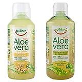 Equilibra Succo di Aloe Vera Extra, Classico, 1 l + Aloe Vera Succo con Zenzero, 500 ml