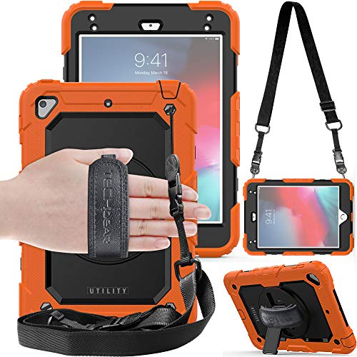 TECHGEAR UTILITY Case fits Apple iPad Mini 5th Gen 2019 / iPad Mini 4 Tough Rugged HEAVY DUTY Armour Shockproof Protect Case 360 Degree Rotating Stand, Hand Strap and Shoulder Strap Case - Orange