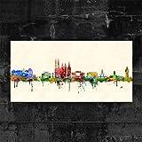 Kunstbruder Wandbild Halle (Saale) Skyline - Farbe (div. Grössen) 3D 4 cm - Kunst Druck auf Leinwand 40x80cm