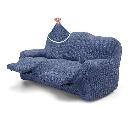 Menotti Sofabezug für 3-Sitzer-Sofa – Sanitized Lehnstuhlbezug Couchbezug Weicher Stoff – Flügellehner Stretch-Möbelschutz Mikrofaser-Kollektion (blau, 3-Sitzer-Liege)