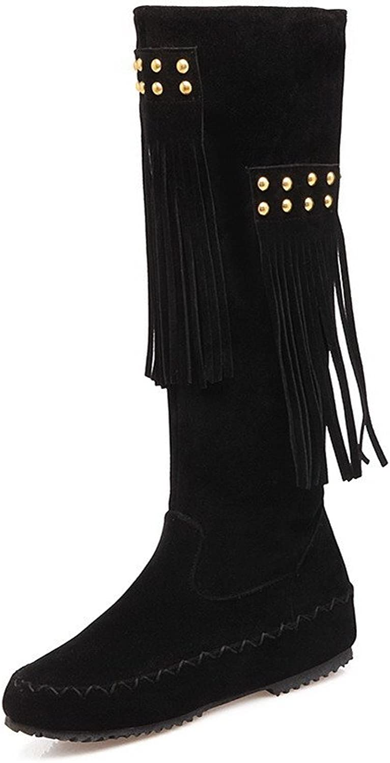 AmoonyFashion Women's High-top Pull-on Frosted Low-Heels Round Closed Toe Boots