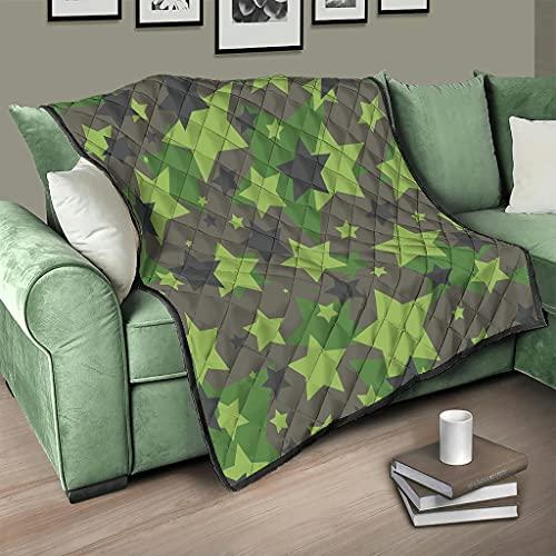 Flowerhome Colcha de camuflaje con estrellas y camuflaje, reversible, para sofá, cama, color blanco, 180 x 200 cm