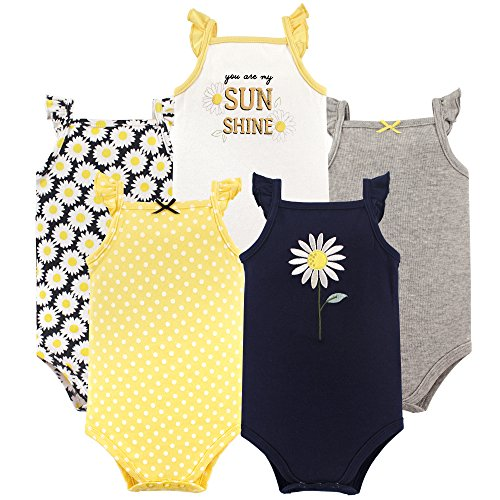 Hudson Baby baby girls Cotton Sleeveless Bodysuits Bodysuit, Daisy, 0-3 Months US