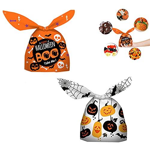 GazyyShop-100 Piezas Bolsas de dulces de Halloween de Conejo de Dulces calabaza de Halloween de regalo para suministros de fiesta de galletas de Orejas de Conejo bolsas Halloween Para fiestas
